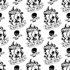 Heavy rock music badge vector vintage label with punk skull seamless pattern background hard sound sticker emblem illustration