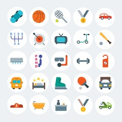 Modern Simple Set of transports, hotel, sports Vector flat Icons. Contains such Icons as  pedestal,  hygiene,  auto,  success,  spa and more on white cricle background. Fully Editable. Pixel Perfect.