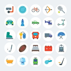 Modern Simple Set of transports, hotel, sports Vector flat Icons. Contains such Icons as car,  rink, tram,  hockey, hotel,  cycle and more on white cricle background. Fully Editable. Pixel Perfect.