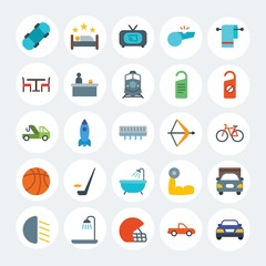 Modern Simple Set of transports, hotel, sports Vector flat Icons. Contains such Icons as  home,  television,  shine,  board,  movie and more on white cricle background. Fully Editable. Pixel Perfect.