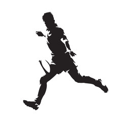 Rugby player kicking ball, isolated vector silhouette. Side view