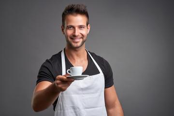 A young barista man