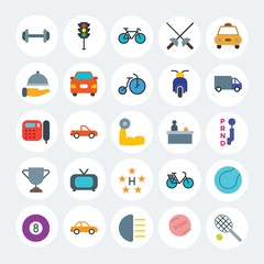 Modern Simple Set of transports, hotel, sports Vector flat Icons. Contains such Icons as baseball,  hygiene,  vehicle,  billiard and more on white cricle background. Fully Editable. Pixel Perfect.