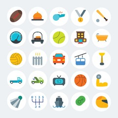 Modern Simple Set of transports, hotel, sports Vector flat Icons. Contains such Icons as  competition, change, motor,  car, key and more on white cricle background. Fully Editable. Pixel Perfect.