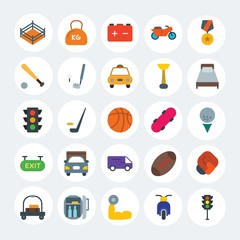 Modern Simple Set of transports, hotel, sports Vector flat Icons. Contains such Icons as  design,  stop, motorbike, bodybuilder, car and more on white cricle background. Fully Editable. Pixel Perfect.