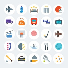 Modern Simple Set of transports, hotel, sports Vector flat Icons. Contains such Icons as  ball,  vector,  knife,  aircraft,  court and more on white cricle background. Fully Editable. Pixel Perfect.