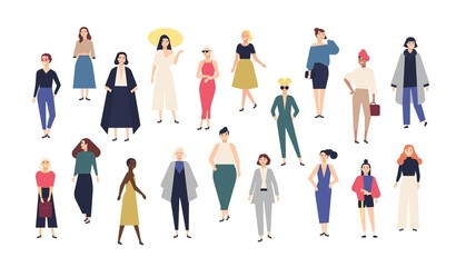 Wall Mural - Women's world. Crowd of girls dressed in trendy casual and formal clothes. Collection of female cartoon characters isolated on white background. Colorful vector illustration in modern flat style.