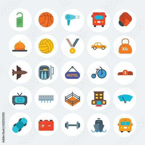 Modern Simple Set Of Transports Hotel Sports Vector Flat Icons Contains Such
