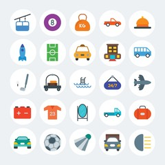 Modern Simple Set of transports, hotel, sports Vector flat Icons. Contains such Icons as food,  transport,  carrier,  leisure,  ball and more on white cricle background. Fully Editable. Pixel Perfect.