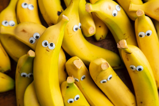 funny pack of bananas with eyes