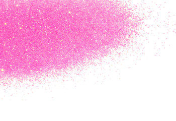 Beautiful pink glitter sparkle on white background, decoration, fashion, holidays