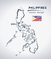 Philippines vector chalk drawing map isolated on a white background