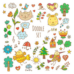 Spring set  with cute cartoon cats, dogs and birds. Colorful flowers and plants of  spring time. Vector contour doodle style image.