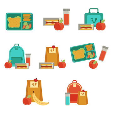 Lunchbox with cheese sandwich, tomato slices, potato chips, paper bag, schoolbag for school or work set. Dinner lunch container with snacks, meals homemade food. Vector isolated illustration