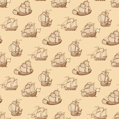 Vintage ships seamless pattern. Antique boats texture
