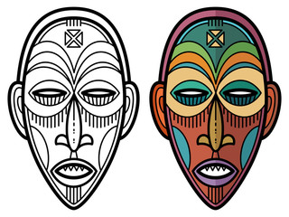 Indian aztec, african, mexican historic tribal mask