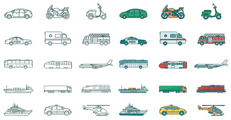 Transportation icons set. City cars and vehicles transport. Car, ship, airplane, train, motorcycle, helicopter. Outline icons. Vector