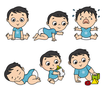 Baby boy set in different poses such as standing, sitting, crying, playing, crawling. vector isolated