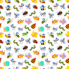 Cute cartoon insects seamless pattern for kids, textile, cards