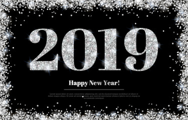 Silver New Year 2019 Greeting Card