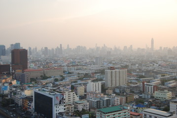 Scenic view of sunset over Bangkok, Thailand