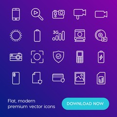 Modern Simple Set of mobile, security, video, photos Vector outline Icons. Contains such Icons as  communication,  telephone,  media and more on gradient background. Fully Editable. Pixel Perfect.