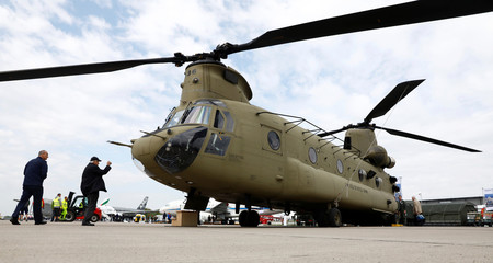 A Boeing CH-47 Chinook helicopter is seen at the ILA Air Show in Berlin