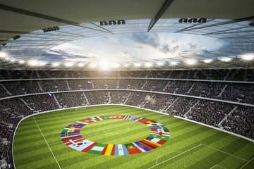 Wall Mural - Stadion mit Länderflaggen 1
