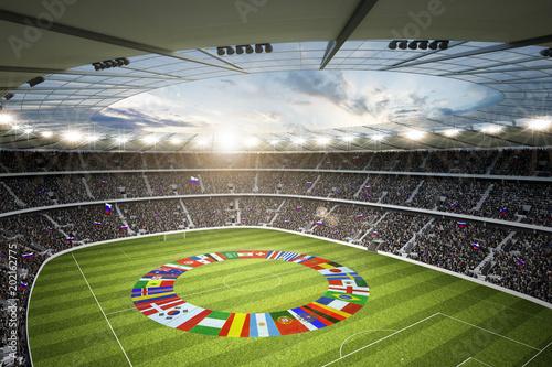 Wall mural Stadion mit Länderflaggen 1