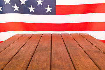 American flag on wooden background . Independence day celebration. July 4th