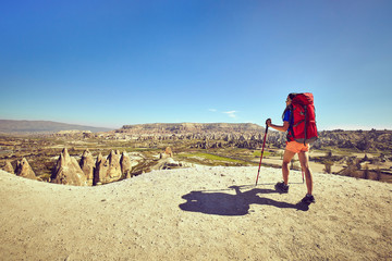 Traveling is a tourist route with a backpack.