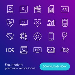 Modern Simple Set of mobile, security, video, photos Vector outline Icons. Contains such Icons as arrow,  sim,  tourism, player, movie and more on gradient background. Fully Editable. Pixel Perfect.