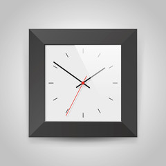 Simple realistic Clock in squre black frame on light gray background. Watch on the wall. Vector design object