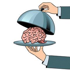 Brain on dish with cloche pop art vector