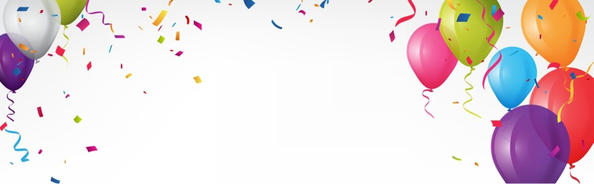 Colorful birthday banner with bunting flags and confetti