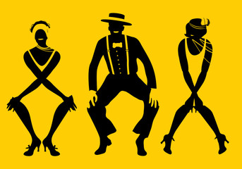 Two flapper girls and one man dancing Charleston. Vector Illustration