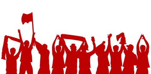 Rote jubelnde Fußball Fans