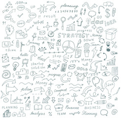 Vector doodles signs and symbols, hand-drawn on the topic of business