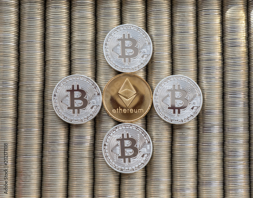 Bitcoin Btc Ethereum Eth Metal Coins Are Laid Out In A Smooth Background To Each Other Close Up View From Top Crypto Currency Exchange Of Money