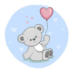 Cute cartoon Teddy Bear with balloon. Vector illustration.