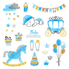 Baby Shower Boy set. Collection of vector watercolor design elements.