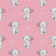 Cute cartoon Teddy bear with flower seamless pattern. Vector baby background.