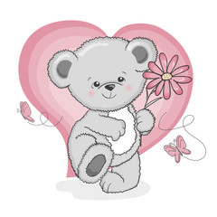 Cute cartoon teddy bear with a flower. Vector illustration for kids.