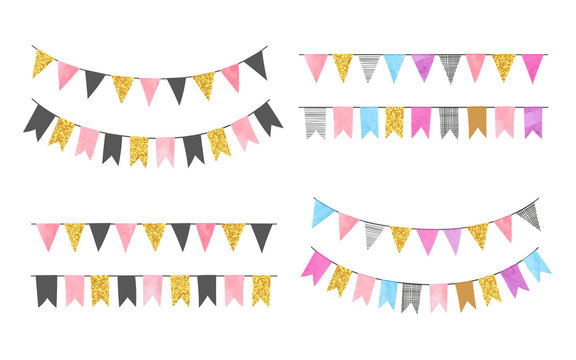 Set of colorful watercolor bunting party flags. Vector illustration, suitable for birthday party, wedding celebration.