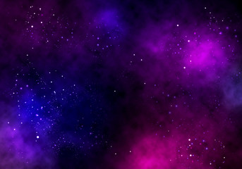 Illustration background of an infinite space with stars, galaxies, nebulae.