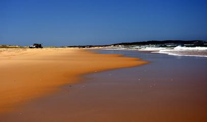 Horizontal landscape of the beach with cars. 4wd cars at Stockton beach (Anna bay, NSW, Australia).