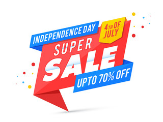 Happy Independence Day, 4th og July celebration concept. with 70% Sale Offers.