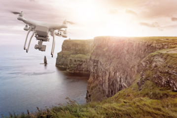 Drone flying over Cliffs of Moher Ireland