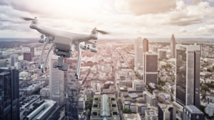 multicopter drone over Frankfurt am Main Wall mural