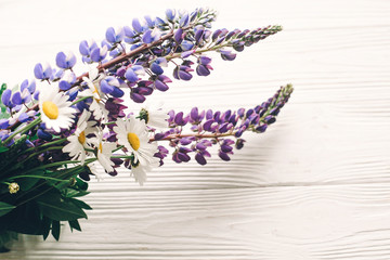 lovely lupine and chamomile bouquet in light on rustic white wooden background in light, space for text. purple wildflowers top view. floral greeting card. spring image. gathering herbs